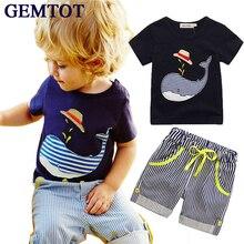 цена на Summer Kids Children's cotton short-sleeved suit boys suits t-shirt + pants 2pcs striped short baby Whale Cartoon 2016