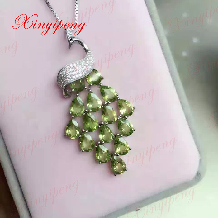 925 sterling silver with 100% natural female peridot pendant necklace Luxury and generous925 sterling silver with 100% natural female peridot pendant necklace Luxury and generous