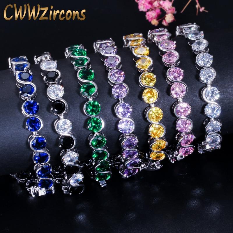 CWWZircons 7 Color Options Round Cut CZ Tennis Women Bracele