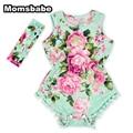De los Bebés Floral Flor Pom Mamelucos Summer Outfit Jumpsuit con diadema 0-3 T