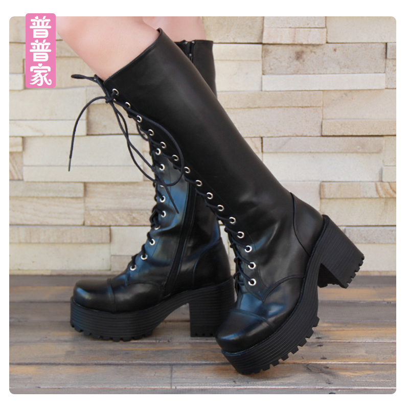 цена на Princess sweet punk shoes The Japanese Harajuku punk boots with thick bottom slope platform lace queen boots women pu7008