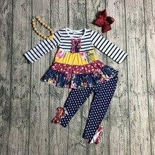 Nova chegada outono/inverno bebê meninas outfits pant marinha borgonha listra floral crianças roupas plissado boutique combinar acessórios