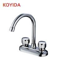 Koyida бассейна смеситель горячей и холодной водопроводной воды двойной ручкой двойной отверстие на бортике ванной кран латунный Chrome ванной кран