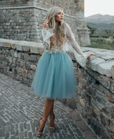 Elegant Light Blue Short Prom Dresses 2017 New Long Sleeve Lace Tulle Women Coctail Gown Vestido