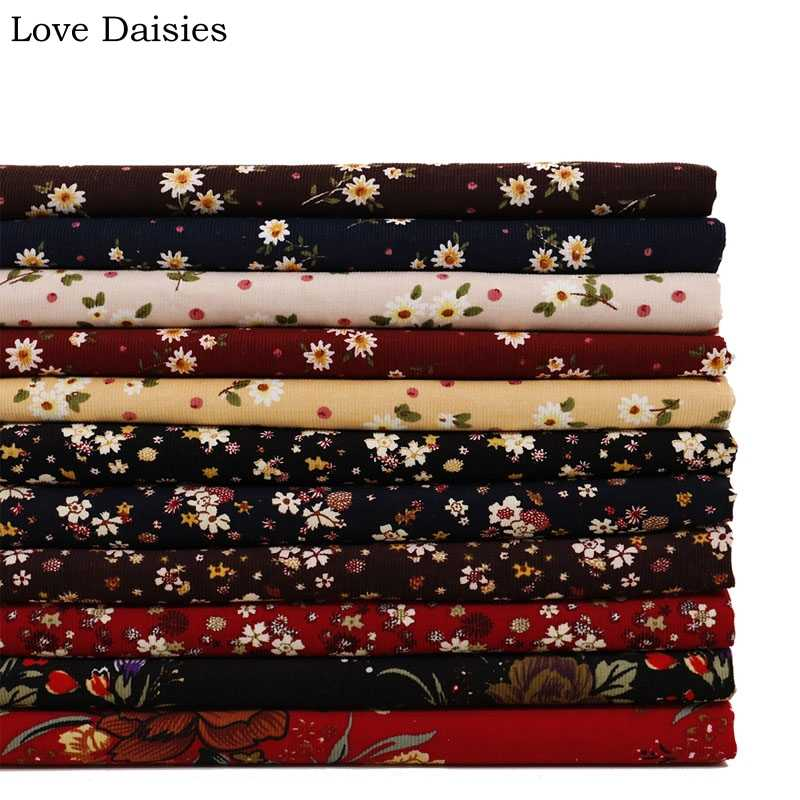 100% Cotton 21W Fine Corduroy soft BLACK RED BROWN PINK Small White flower Floral  Fabrics for DIY Dress Shirt Craft Home Decor