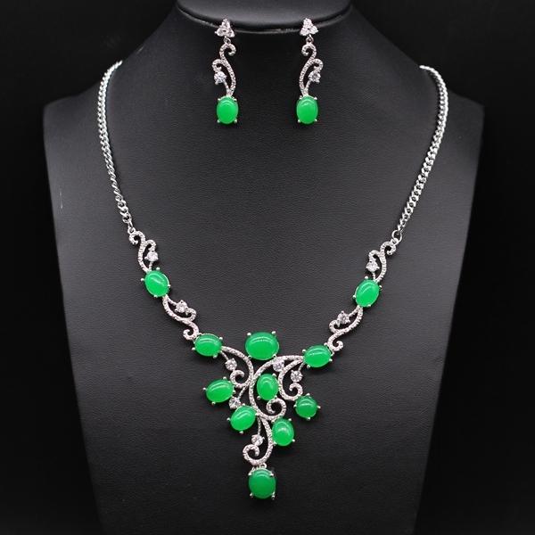 Estilo de lujo JINYAO joyería de platino plateado malasia jade y pendientes cristalinos del collar Set sistemas de la joyería nupcial