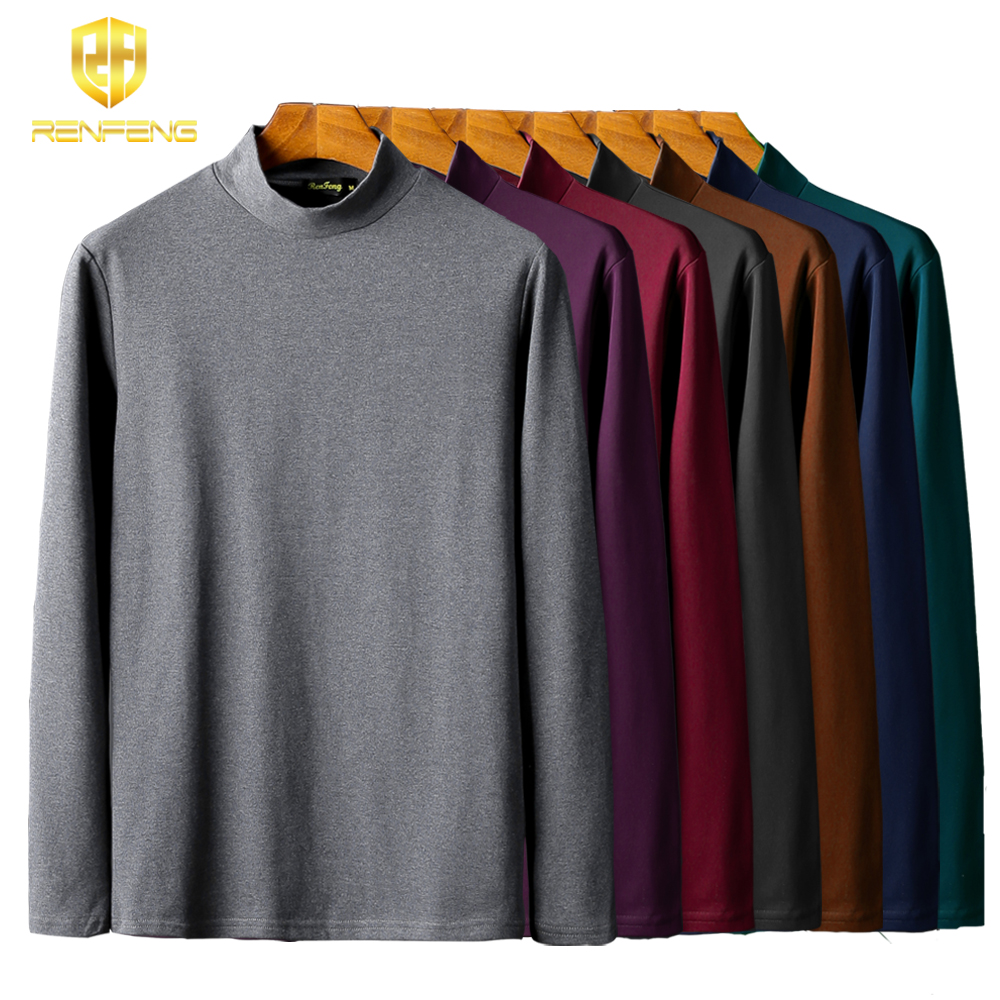 Pack of 5 Men's Cotton Undershirts Man Underwear Long leeved Undershirt Winter High Neck Shirts Spandex Thermal Solid T Shirts (3)