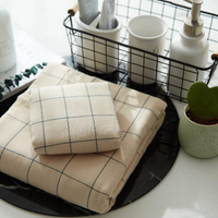 New 2 Pcs Brown Plaid Bath Face Towel Sets 100% Cotton Thick Home Hotel Absorbent Plain Wash Hand Towels In Stock