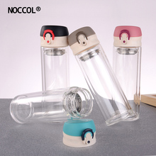 NOCCOL New Hot Double Glass Drink Bottle Transparent Outdoor Sport Fitness Portable Water Bottles Drinkware font