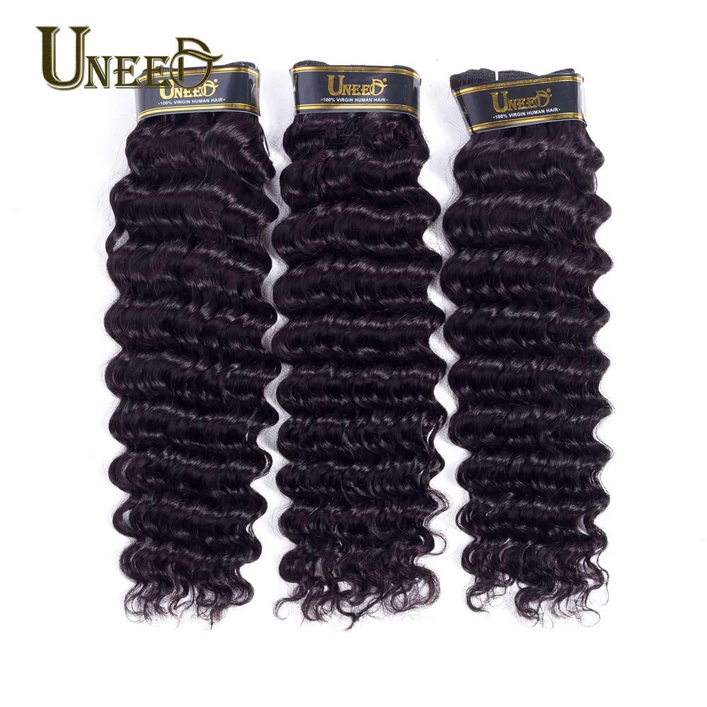 Uneed перуанский глубокая волна вьющиеся волосы переплетения расслоения 100% человеческих Инструменты для завивки волос натуральный Цвет Remy П... ...