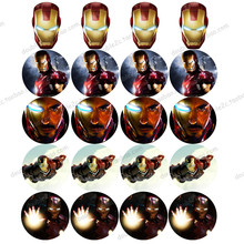 "Edible Wafer Paper for Cup Cake Topper 2"" 20pcs/set Avengers Iron Man Icing Paper Kids Boys Birthday Cake Topper Decorations(China)"