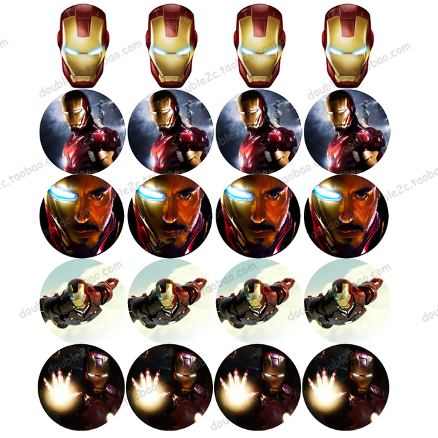 Edible Wafer Paper For Cup Cake Topper 2 20pcs Set Avengers Iron Man Icing Kids Boys Birthday Decorations