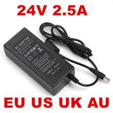 1PCS 60W 2.5A 24V 24V 2.5A 2500mA 60W 24VDC 1PCS AC สาย 1.2M US EU UK AU ปลั๊ก 100 240VAC