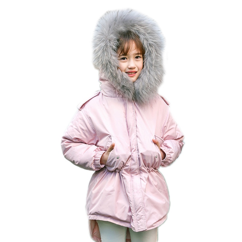 New 2018 Big Fur Collar Hooded Girl Winter Jacket Waist Thin Children Clothing Coats Thick Princess Warm Winter Kids Outerwears hot sale 1pc 35 15cm cartoon smile naughty pig plush doll hold pillow animal stuffed toy children birthday gift free shipping
