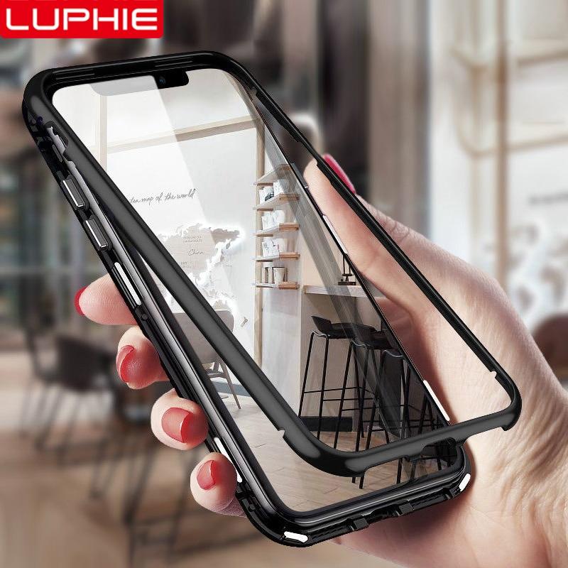 LUPHIE Magnetische Fall Für iPhone X XS Max XR Metall Bumper Klar Gehärtetem Glas Zurück Abdeckung Für iPhone 8 7 6 6 S Plus Magnetic Cases