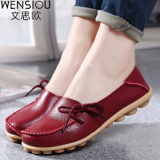 Large size Causal leather Women shoes flat loafers mother shoes ladies lace-up fashion comfortable breathable women flats