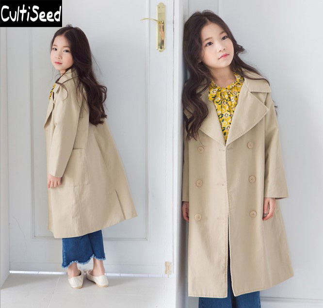 Girls Trench Coat Children's Big Turn Down Collar Double Breasted Long Trench Outerwear Coat Kids Solid Color Trench with Pocket delicate double layered cuff bracelet for women