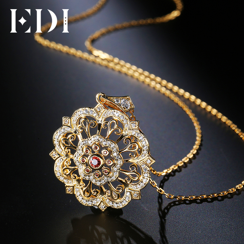 EDI Tears Of The Sun Flower Natural 3mm Garnet 925 Sterling Silver Gemstone Pendant For Women Necklace Chain Fine Jewelry tears of the sun