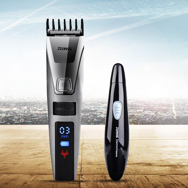 цена RIWA Electric Trimmer Hair Clipper Professional Hair Trimmer LCD Display Nose Trimmer Men Clipper Haircut Machine Hair Cutting
