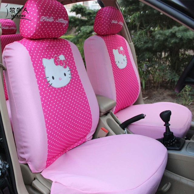 Cute Cartoon Hello Kitty Universal Car Seat Covers Accessories Styling Polka Dot Decoration Protector