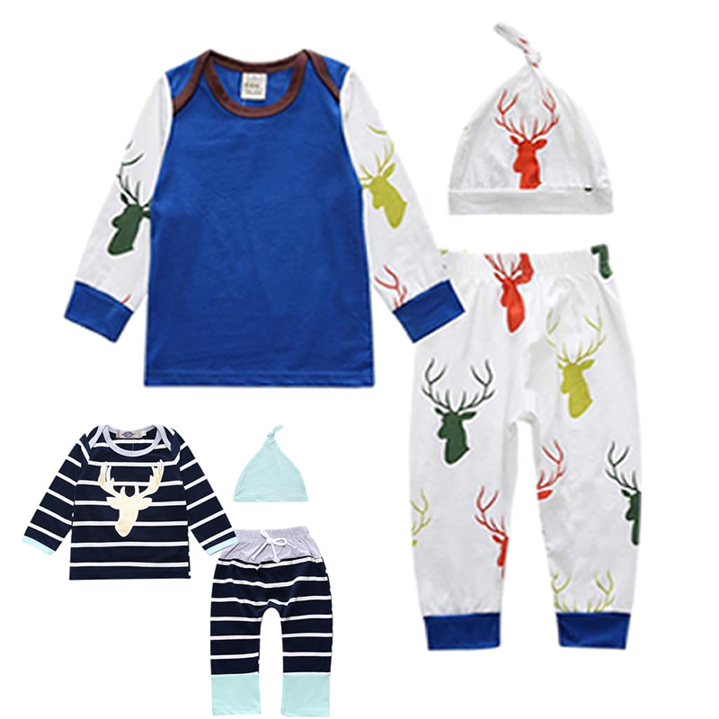 Spring Autumn 2018 baby boy girl clothing sets Fashion printing T-shirt+pants+hat 3pcs/set newborn toddler baby girl clothes