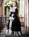 Black/White Gothic Victorian Satin Ruffled Long Lolita Dress Fashion Party Dress Uniform Cosplay Anime Costume