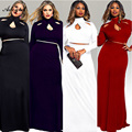 Adogirl 2016 Autumn Women Sexy Club Party Long Dresses Vintage Black Red 2PCS Maxi Long Dresses 3XL Plus Size Vestidos Robe