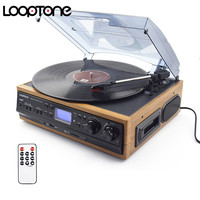 LoopTone Vinyl LP Record Turntables Player Cassette Player AM FM Radio USB/SD Player W/ Remote Control Built in Speaker Aux in