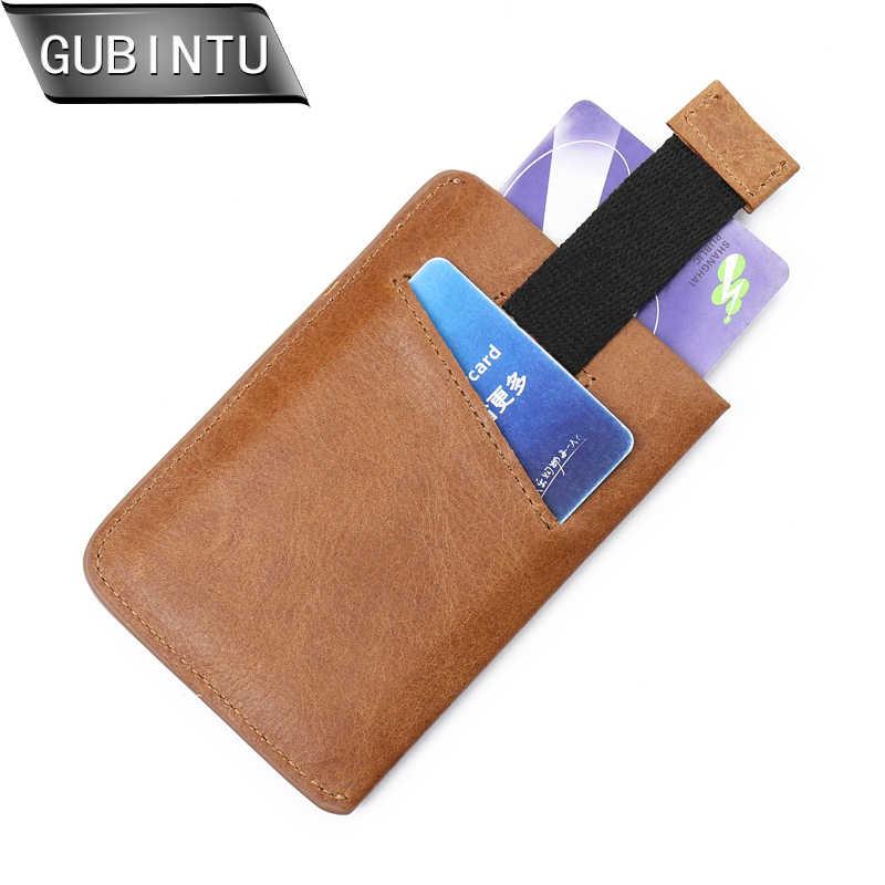 Gubintu RFID Kecil Asli Kulit Tas Dompet Pria Kartu Kredit & ID Pemegang Fame Compact Mini Dompet Arus Kartu Wanita pemegang