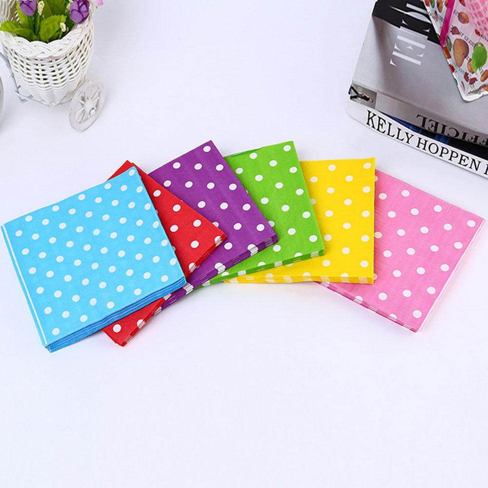 Color printing paper - 20 Pcs Set Color Polka Dot Child Birthday Party Decoration Paper Napkin Double Printing Paper