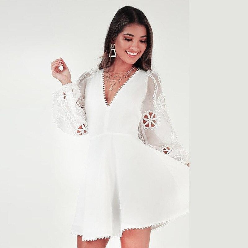 Nouveau femmes blanc mousseline de soie robe broderie évider lanterne manches 2019 été Designer Aline robes féminin col en v robes