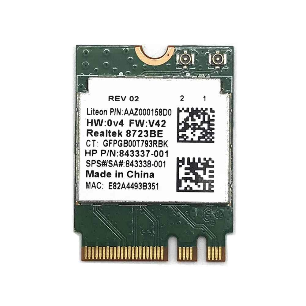 REALTEK RTL8723BE NGFF 802.11N 300Mbps Bluetooth 4.0 NGFF Wifi Card SPS 843338-001