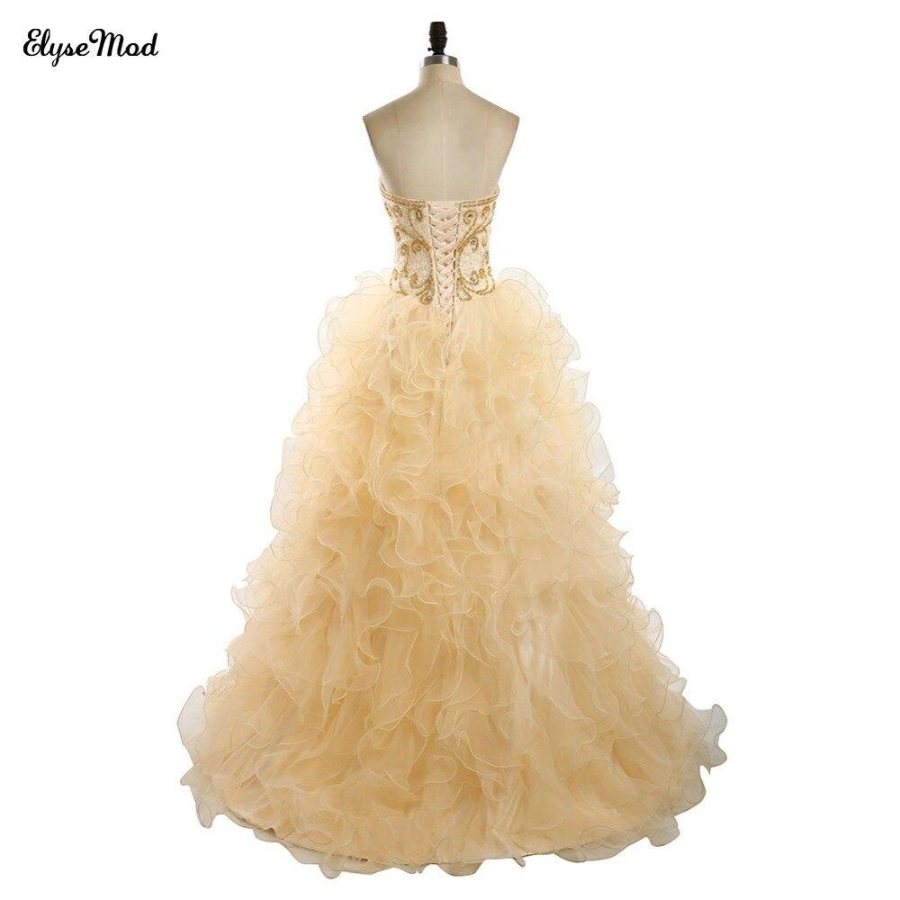 Offre spéciale robe de bal Champagne dentelle chérie robes de grande taille de bal pour 2018 femmes bal à volants robe perlée livraison gratuite - 5