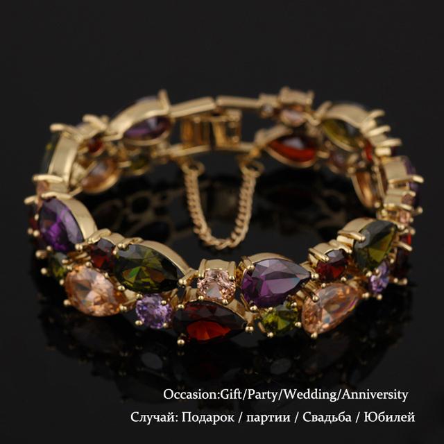 Fashion Green Rose Gold Plated Zircon Bracelet Mona Lisa Bracelets & Bangles For Women Gift Love Bracelet pulseiras B002