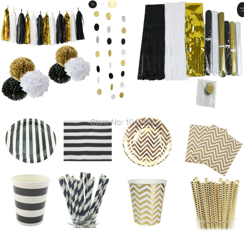 Black Gold White Party Decoration&Tableware Chevron Striped Paper Plates Cups Straws Napkins Tissue Tassel Garland Paper Pompoms(China (Mainland))