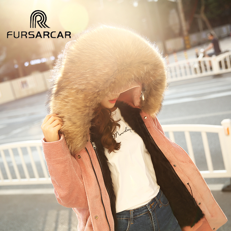 FURSARCAR Real Raccoon Fur Collar Coat For Women 2017 Winter Detachable Wool Liner Female Corduroy Parke Long Jacket With Hood