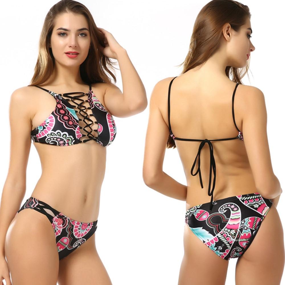 2018 Summer crop top floral print sexy bikini set women push up swimsuit Hollow Chest high neck swimwear bathingsuit