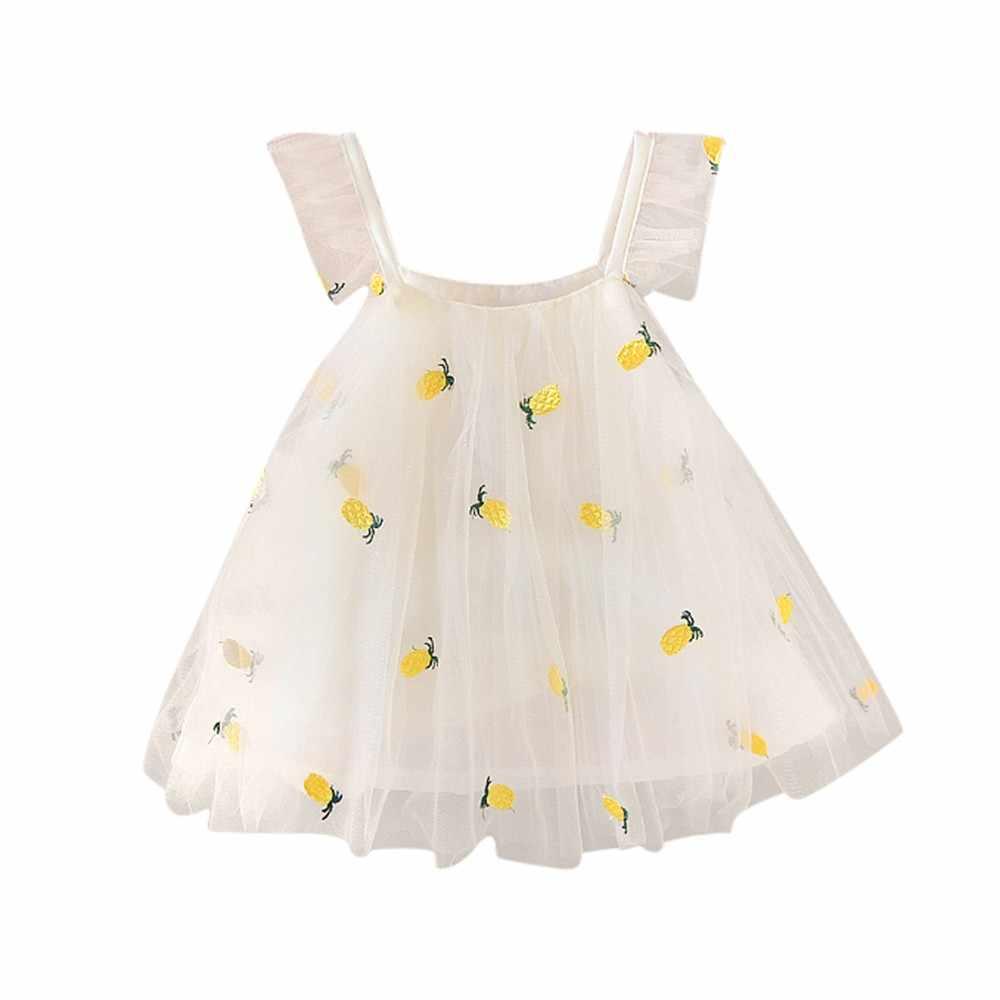Noworodka dziewczynka ananas haft księżniczka na co dzień sukienka na ramiączkach ubrania imprezowe 3.26