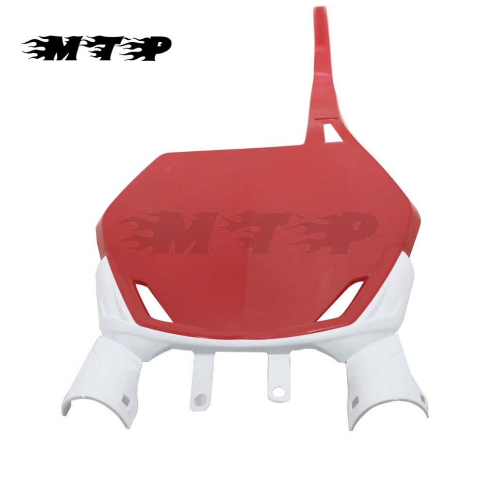 CRF250R CRF450R Motocross Front Number Plates For Honda CRF 250R 450R Pit Dirt Bike Racing Motorcycle Red Plastic New Name Panel front plastic number plate fender cover fairing for honda crf100 crf80 crf70 xr100 xr80 xr70 style dirt pit bike