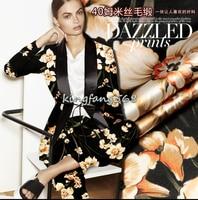 Designer 35 Natural Mulberry Silk 65 Woolen Clothing Fabric Silk Woolen Satin Yellow Flower Cheongsam Dresses