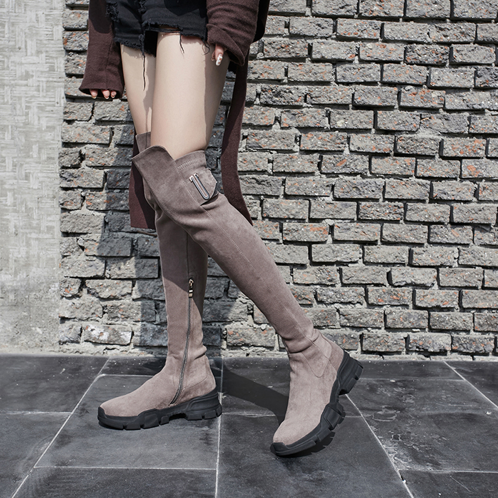 Bimolter Women Sheep Suede Leather Over the Knee Boots Ladies Sexy Long Thigh Stretch Shoes Autumn Winter Comfortable Shoe NB002 in Over the Knee Boots from Shoes