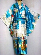 Light Blue New Vintage Japanese Women's Silk Satin Kimono ropa Mujeres japonesas Yukata Dress Flower One Size H0016