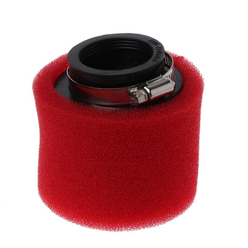 Apuesto Alta Calidad 1 Pc Motocicleta Roja Doble Esponja Filtro De Aire Limpiador Cuello Recto 35/38/40/42 /45/48mm Nuevo