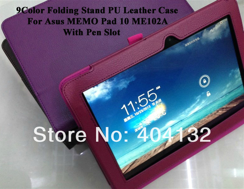 30PCS For Asus ME102A Cover,Folding Stand PU Leather Case For Asus Memo Pad 10 ME102A