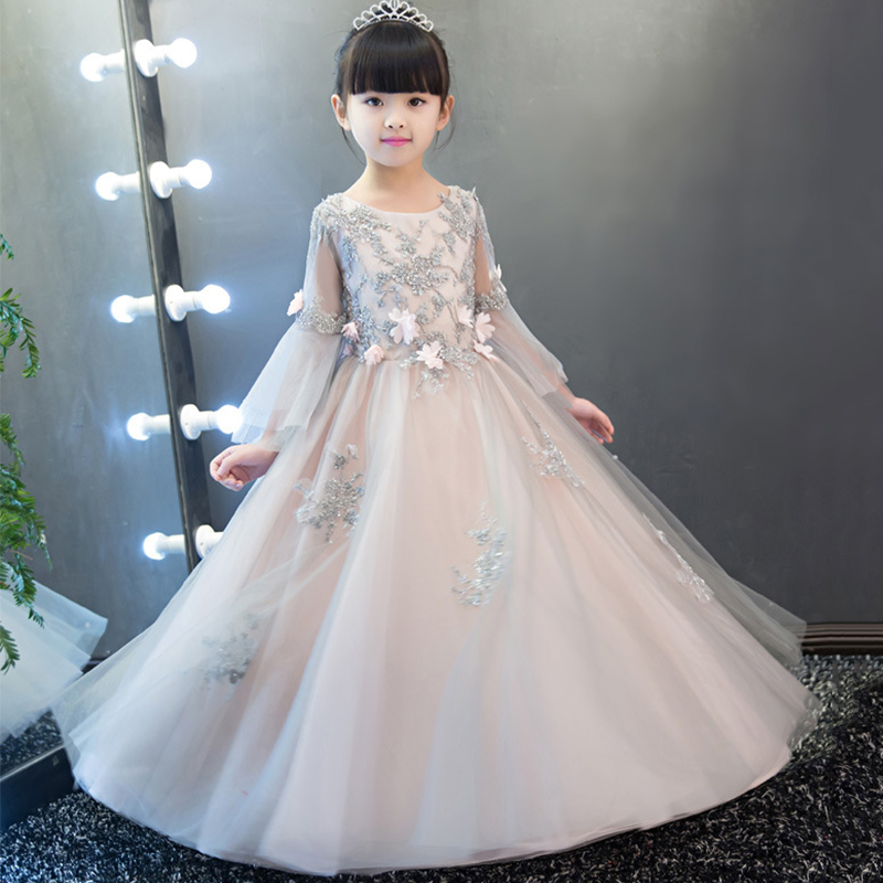 First Holy Communion Dress Appliques Flower Girl Dresses for Wedding Ball Gown Floor Length Pricess Dress for Birthday Party K60