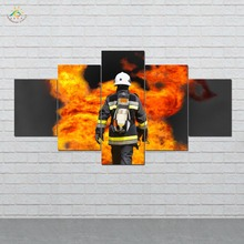 Cool Fireman Wall Art HD Prints Canvas Painting Modular Picture And Vintag Poster Home Decor 5 PIECES