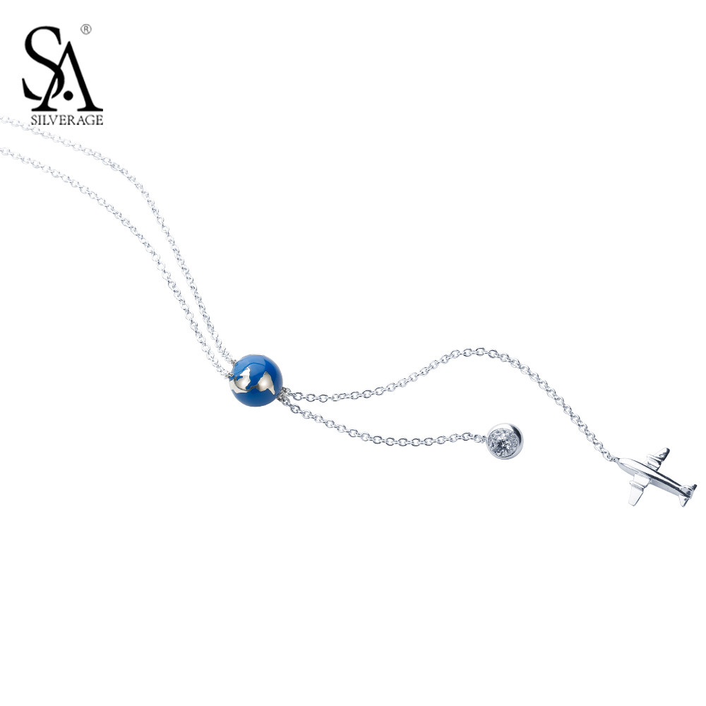 SA SILVERAGE 925 Sterling Silver Long Necklaces Pendants Sweater Chain Fine Jewelry Blue Earth Jewelry For Women sa silverage real 925 sterling silver crystal key necklaces pendants for women silver chain pendant necklaces wedding gifts