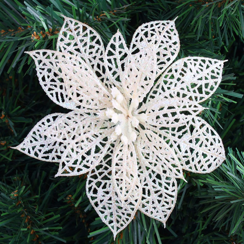 Artificial Christmas Flowers.Us 14 6 10pcs Lot White Golden Silver Flower Shaped Cutouts Exquisite Artificial Christmas Flowers Xmas Tree Wreaths Decor Ornament In Artificial