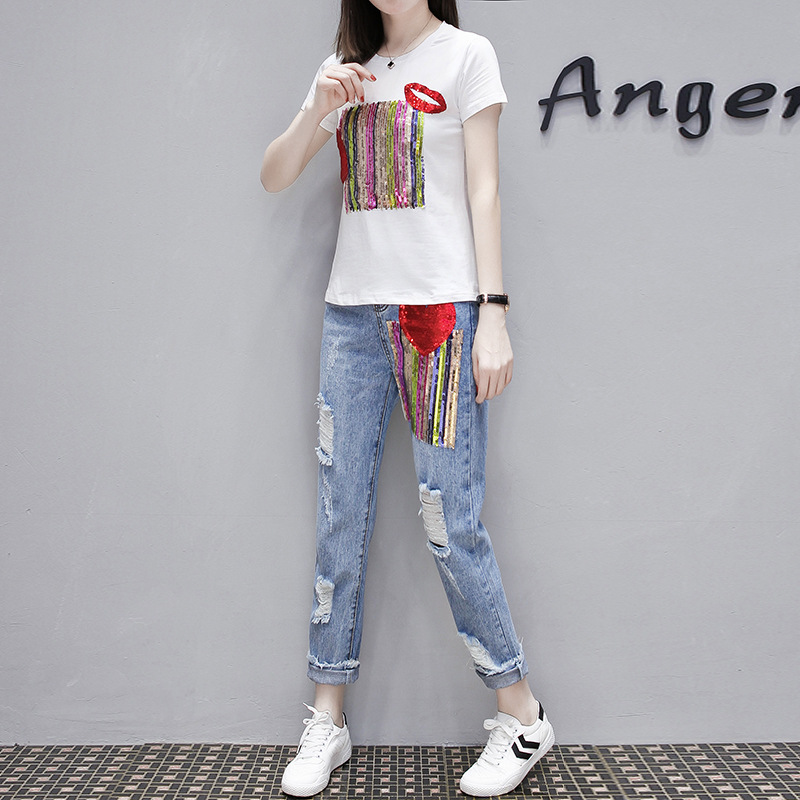 Fashion Summer Women Hole Ripped Jeans Two Piece Set Sequined Short Sleeve T-shirt Tracksuit Streetwear Slim Fit Ensemble Femme 2