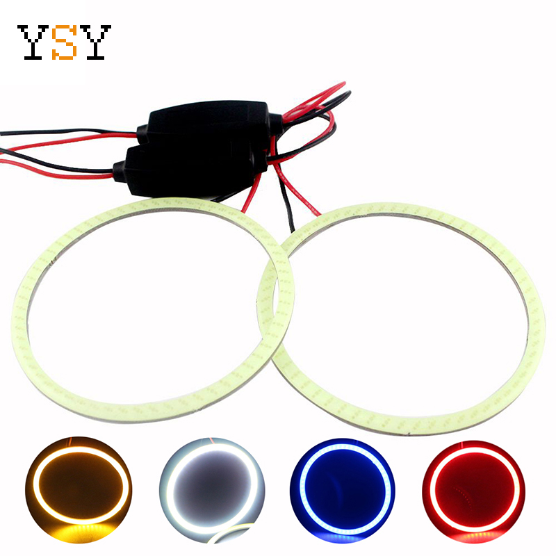 COB Angel Eye 2x(1pair) Auto Halo Rings 48MM 60MM 70MM 80MM 90MM 100MM 120MM Headlight Car Angel Eyes Motorcycle 9-30V White